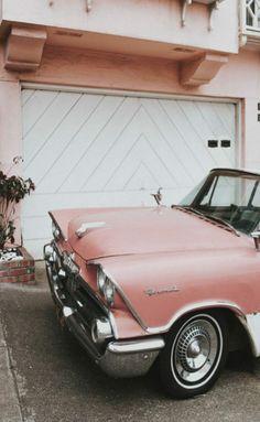 |Pinterest @xioohh❥| Aesthetic Vintage, Peach Aesthetic, Pink Tumblr Aesthetic, 1960s Aesthetic, Aesthetic Images, Retro Cars, Vintage Cars, Antique Cars, Retro Vintage
