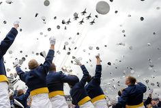 This is what a US Air Force Graduation looks like.  We just had confetti, they had planes.