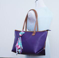 Large tote bag, Faux leather purple monogram shoulder bag, Structured tote, carry all, travel bag, school bag, everyday bag, laptop bag by bennaandhanna on Etsy