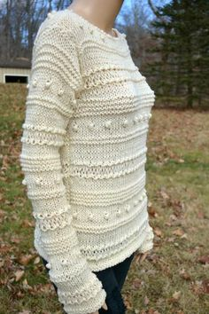 This is a beautiful pullover, made it with a merino, bamboo, and nylon yarn, very soft and warm. This yarn is beautiful but you can have different shades of the same color in the same lot. So you have two different shades in this beautiful cream color. ...