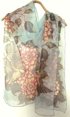 Hand painted Silk scarf Silk scarf.hand painted scarves, Silk Shawl,Women Scarves with flowers and birds.Ready to ship.