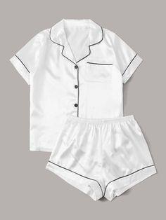 Letter Graphic Back Contrast Piping Satin PJ Set Cute Pajama Sets, Cute Pjs, Cute Pajamas, Pajamas Women, Cute Sleepwear, Satin Sleepwear, Nightwear, Cute Lazy Outfits, Casual Outfits