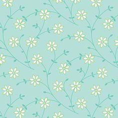 Daisy Vine blue fabric by jillbyers on Spoonflower - custom fabric