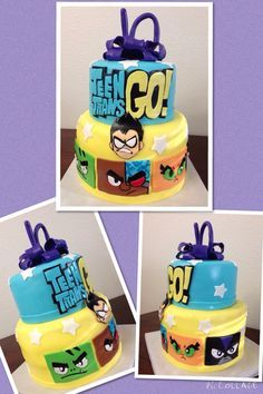 Teen Titans Go Birthday Cake - This cake is just awesome! Love the character faces all the way through to the Teen Titans Logo. 5th Birthday Party Ideas, Boy Birthday, Birthday Cakes, School Cupcakes, Superhero Cake, Teen Titans Go, Cakes For Boys, Chile, Bakery Ideas