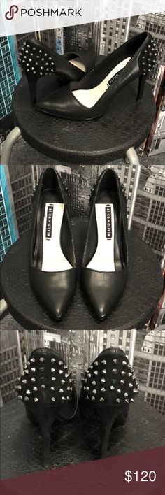 Alice + Olivia Black heels 38.5 Alice + Olivia black heels with spikes. These heels are AWESOME, they just are a bit too tight for me.   If you are a 7.5/8 these would be perfect for you! Excellent condition! Alice + Olivia Shoes Heels
