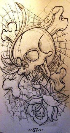 Old School Skull Tattoo Design Lower Back Tattoos - Lombn Sites Free Tattoo Designs, Skull Tattoo Design, Skull Design, Skull Tattoos, Rose Tattoos, Body Art Tattoos, Tattoo Free, Ear Tattoos, Celtic Tattoos