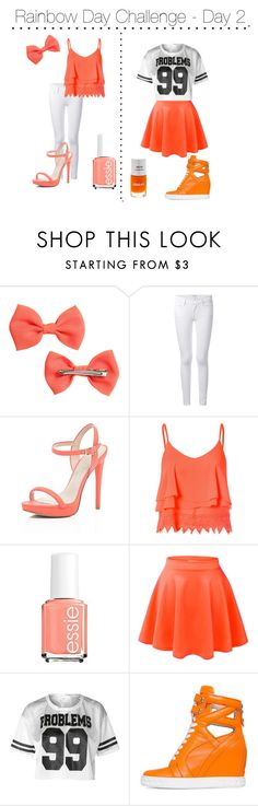 """Rainbow Day Challenge - Day 2"" by shinee-panda ❤ liked on Polyvore featuring H&M, Frame Denim, River Island, Glamorous, Essie and Posh Girl"