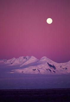 coiour-my-world: Moonrise Over Snowy Mountain Stockbyte