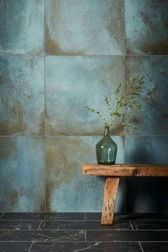 Our Verdigris Porcelain tiles replicate the blue green patina formed on copper by oxidation. View this & more porcelain tiles & flooring at Mandarin Stone - buy online or order a sample. Attic Bathroom, Downstairs Bathroom, Kitchen Tiles, Kitchen Flooring, Mandarin Stone, Stone Tiles, Bathroom Interior Design, Tile Design, Bathroom Inspiration