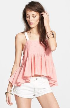 Want a tank you can wear every day this summer? This is it! Easy to wear, light weight and a great color combo. Free People 'Lola's' Stripe Peplum Tank | Pretty Little Liars