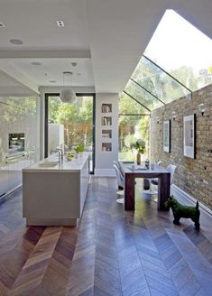 Modern home with skylights