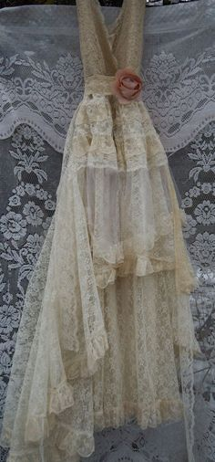 Lace Wedding Dress handmade by vintage opulence on Etsy The top is a soft pale nude/cream lace with lining, v neckline with lace trim around the