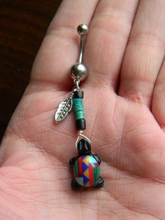 Inlaid Turtle Belly Ring in The Beach Boho Gypsy Hipster Fantasy Style ooooomg i want it!!
