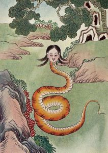 The goddess Nu Wa as portrayed with the head of a woman and a serpentine body. Posted on heathenchinese.wordpress.com (image credit Myths and Legends of China by Edward Theodore Chalmers Werner, 1922, via Wikimedia Commons) by Heathen Chinese.