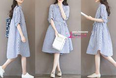 33bd4e1067e9b Maternity Hitz Korean fashion blue striped long-sleeved dress pregnant women  Product CODE : ANCLTH503392