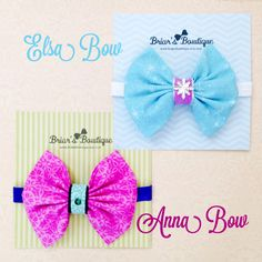 Frozen gift set; Elsa and Anna bow headbands set of two; Disney's Frozen inspired bows; Frozen birthday party; baby, toddler, or girl by BriarsBowtique on Etsy https://www.etsy.com/listing/236082743/frozen-gift-set-elsa-and-anna-bow