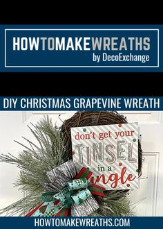 Christmas is one of our favorite times of the year. Click on this DIY Christmas grapevine wreath pin to see the full video and tutorial and add it to your holiday decor! Christmas Greenery, Outdoor Christmas Decorations, Holiday Decor, Christmas Projects, Christmas Crafts, Craft Night, Deco Mesh Wreaths, Wreaths For Front Door, How To Make Wreaths
