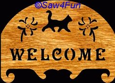 Welcome Cat Plaque Scroll Saw Pattern