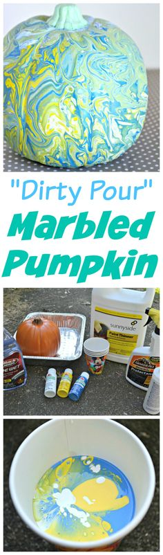 "How to make a ""Dirty Pour"" marbled pumpkin for fall using a few simple products and acrylic paint."