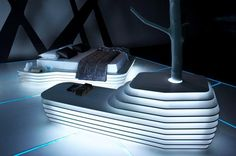 Cool Bedroom Design In TRON Legacy Inspiration For Home Designing Futuristic Interiors home trends design photos, home design picture at Home Design and Home Interior Futuristic Interior, Futuristic Furniture, Futuristic Design, Interior Architecture, Interior Design, Interior Decorating, Counter Design, Awesome Bedrooms, Woodworking Projects Plans