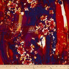 Van Gogh Rayon Challis Mosaic Red
