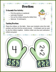 Kindergarten: FREE mitten match activity for addition facts to Great center activity! Preschool Math, Kindergarten Classroom, Elementary Math, Fun Math, Teaching Math, Math Activities, Classroom Freebies, Classroom Games, Preschool Winter