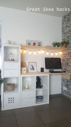 Ikea Kallax Hack Sideboard Woods DIY – interior design ideas - home diy ideas Diy Ikea Kallax, Etagere Kallax Ikea, Home Office Design, Home Office Decor, Diy Home Decor, Office Furniture, Office Ideas, Diy Furniture, Home Decor Ideas