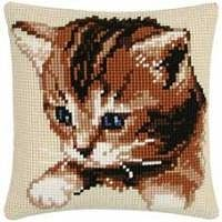 Cats - Cat Cushion Front Cross Stitch Kit by Vervaco Cross Stitch Animals, Cross Stitch Kits, Cross Stitch Charts, Cross Stitch Patterns, Folk Embroidery, Cross Stitch Embroidery, Cross Stitch Cushion, Cat Cushion, Cat Signs