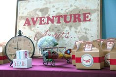 Kraft paper boxes at a vintage airplanes first birthday party! See more party planning ideas at CatchMyParty.com!