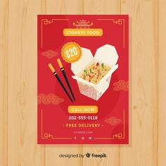 Folheto de comida chinesa Food Posters, Flyer Free, Chinese Food, Flyers, Vector Free, Box, Design, Corporate Brochure, Annual Reports