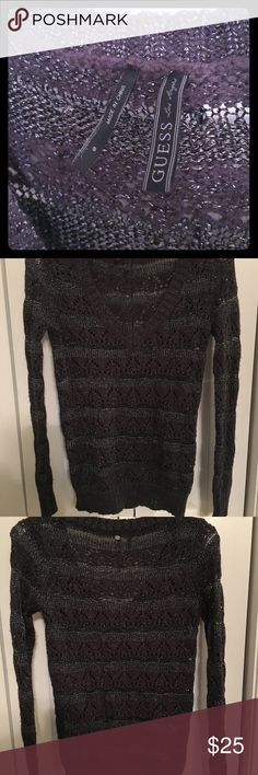 Glitter/Sparkly sweater!! Guess dark gray v-neck sweater with sparkle accents. See photos for detail. Guess Sweaters V-Necks