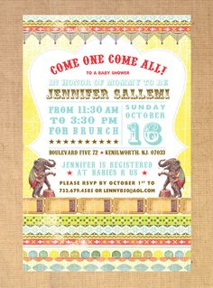 Vintage Circus Invitation DIY PRINTABLE. $20.00, via Etsy.