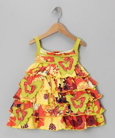 Take a look at this Orange Butterfly Garden Dress - Girls by Cheeky Smyle on #zulily today!