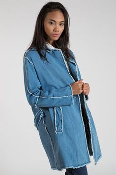 Jean Jackets You Can Wear To The Office — & Not Just On Friday #refinery29  http://www.refinery29.com/fancy-jean-jacket#slide-7  The FrayedThese frayed seams are edgy (in a soft way).