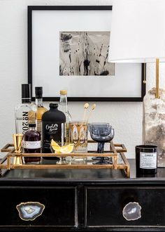 Even if you don't have the room for a whole bar you can be very stylish with a drink tray