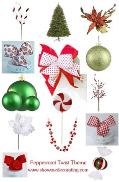 Christmas Tree-Peppermint Twist  Show Me Decorating Recipe includes 3 Key Ingredients plus your own collection of ornaments to WOW your friends and family!   http://www.showmedecorating.com