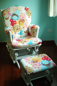 Reupholstered Glider tutorial...OMG I want this material to redo my rocking chair!!!
