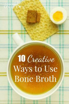 Here's a list of 10 Creative Ways To Add More Bone Broth To Your Diet. Bone broth is great for your health, however, it can be a challenge to figure out ways to add it to your food. Here's a list of creative ways to get more of the benefits of bone broth! Bone Broth Soup, Making Bone Broth, Real Food Recipes, Soup Recipes, Healthy Recipes, Free Recipes, Dinner Recipes, Sin Gluten, Gluten Free