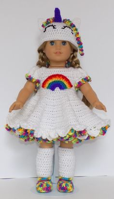 18 American Doll Rainbow Unicorn Dress by CrochetAngelDesigns Crochet Dress Outfits, Crochet Doll Dress, Crochet Doll Clothes, Dress Sewing, Baby Dress Patterns, Baby Clothes Patterns, Clothing Patterns, Pattern Dress, Sewing Patterns