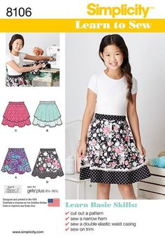 Get your tween into sewing with this skirt pattern that includes special directions to learn to sew for the first time. Skirt features different overlays and trims for a wardrobe staple they will be proud to wear. Skirt Patterns Sewing, Simplicity Sewing Patterns, Sewing Patterns Free, Free Sewing, Clothing Patterns, Fashion Patterns, Kids Patterns, Vintage Patterns, Patron Simplicity
