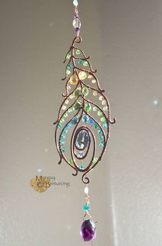 SALE Super sparkly Peacock feather gemstone suncatcher, Swarovski crystal hanging wire art,  home window decor patio garden decoration
