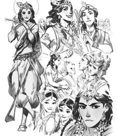 "phobso: ""Some pics I made for ''Mythbook'' collection "" Character Inspiration, Character Art, Character Design, Drawing Sketches, My Drawings, Character Illustration, Illustration Art, Modern Magic, Krishna Art"