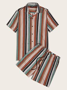 Shop Guys Revered Collar Striped Shirt & Drawstring Waist Shorts Set at ROMWE, discover more fashion styles online. Tomboy Outfits, Swag Outfits, Mens Crop Top, Streetwear Shorts, Burberry Men, Summer Shirts, Stylish Men, Denim Fashion, Lady