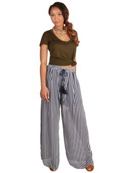Getting Some Fresh Flair Pants. You start your day with easygoing elegance when you slip into these navy-and-white striped pants before padding toward the patio with a fresh cup of coffee.  #modcloth