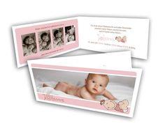 Geburtsanzeigen - Süßes Mädchen mit Comic & vespielter Schrift (für Jungen in Blau möglich)