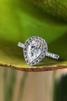36 Utterly Gorgeous Engagement Ring Ideas ❤️ engagement ring inspiration pear cut pave band halo ❤️ See more: http://www.weddingforward.com/engagement-ring-inspiration/ #weddingforward #wedding #bride