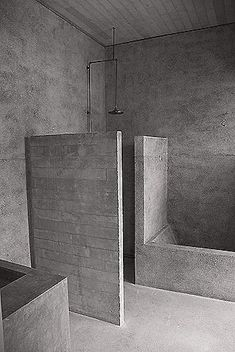 Kevin Mark Low. Boardformed house - small projects. Copper pipe, brass union. Light - grey terrazzo on floors and walls