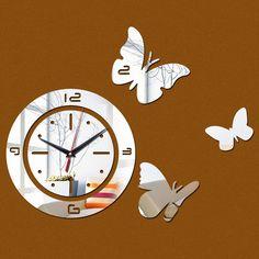 New arrival 2015 acrílico relógio de quartzo relógio de parede espelho de cristal 3d relógios real decoração frete grátis alishoppbrasil
