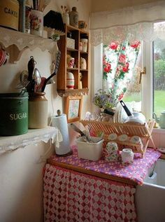 Country kitchen...love the red & white!