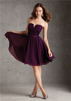 Definitely short dresses in this darker plum shade. Same or similar fabric. :)